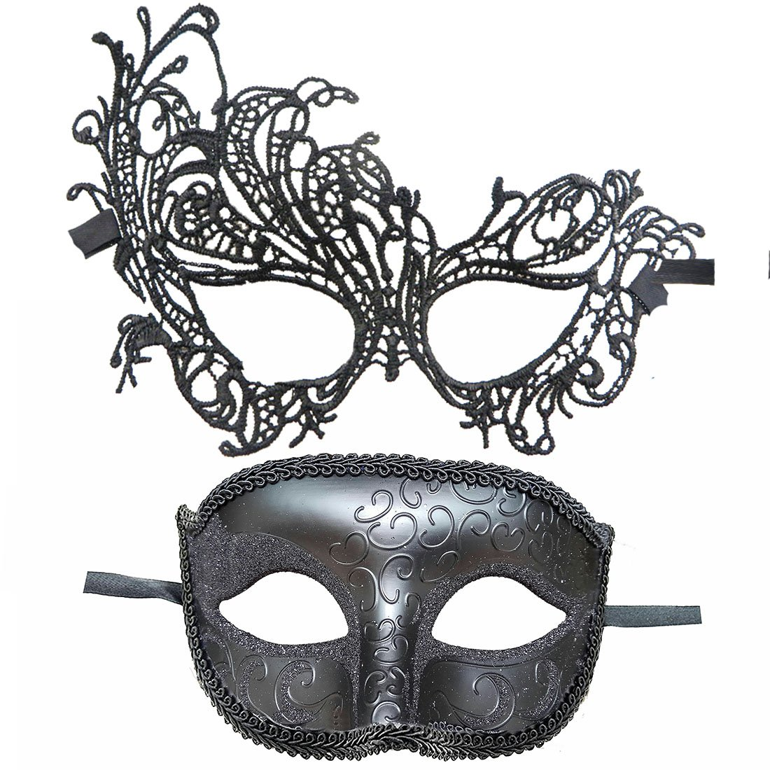 IDOXE Red Lace Mask for Couples Women Men Masquerade Party Ball (Black Ana)