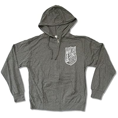 "Adult Mumford & Sons ""Shield Tour (Aug-Sept)"" Grey Zip Up Hoodie T-Shirt"