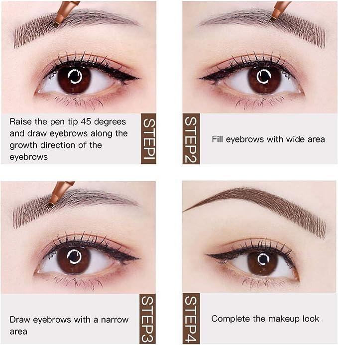 Eyebrow Pencil, Eyebrow Tattoo Pen, Lapiz De Cejas, Lápiz de cejas líquido bifurcado innovador que describe fácilmente la forma natural de la ceja