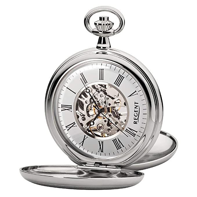 Regent P 36K - Reloj de bolsillo para hombre (mecanismo de esqueleto, con cadena de metal cromado), color plateado