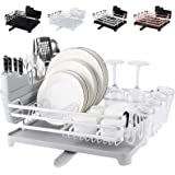[Upgraded] ROTTOGOON Aluminum Dish Drying Rack, Compact Rustproof Dish Rack and Drainboard Set, Dish Drainer with Adjustable