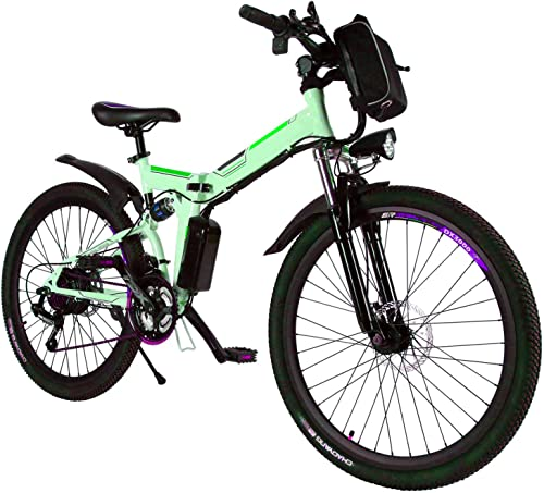 Yiilove Electric Bicycle 26 Electric Mountain Bike for Adult with 36V Lithium-Ion Battery Ebike 250W Powerful Motor 21 Speed White