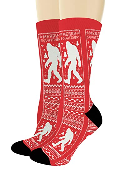 017189b80cec Amazon.com: Crazy Socks Merry Squatchin Bigfoot Socks Merry Christmas  Accessories 1-Pair Novelty Crew Socks: Clothing