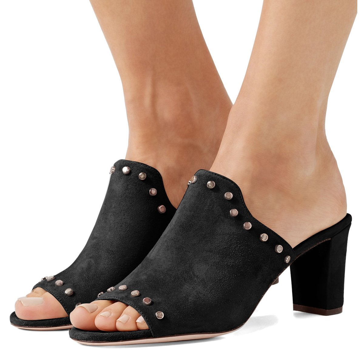 FSJ Women Peep Toe Mules Chunky Heeled Sandals with Studs Casual Slip On Summer Shoes Size 8.5 Black-Suede
