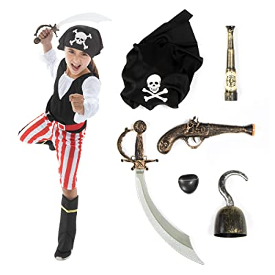 Hauntlook Deluxe Caribbean Pirate Costume & Accessory Kit - Includes 6 Props & Outfit: Clothing