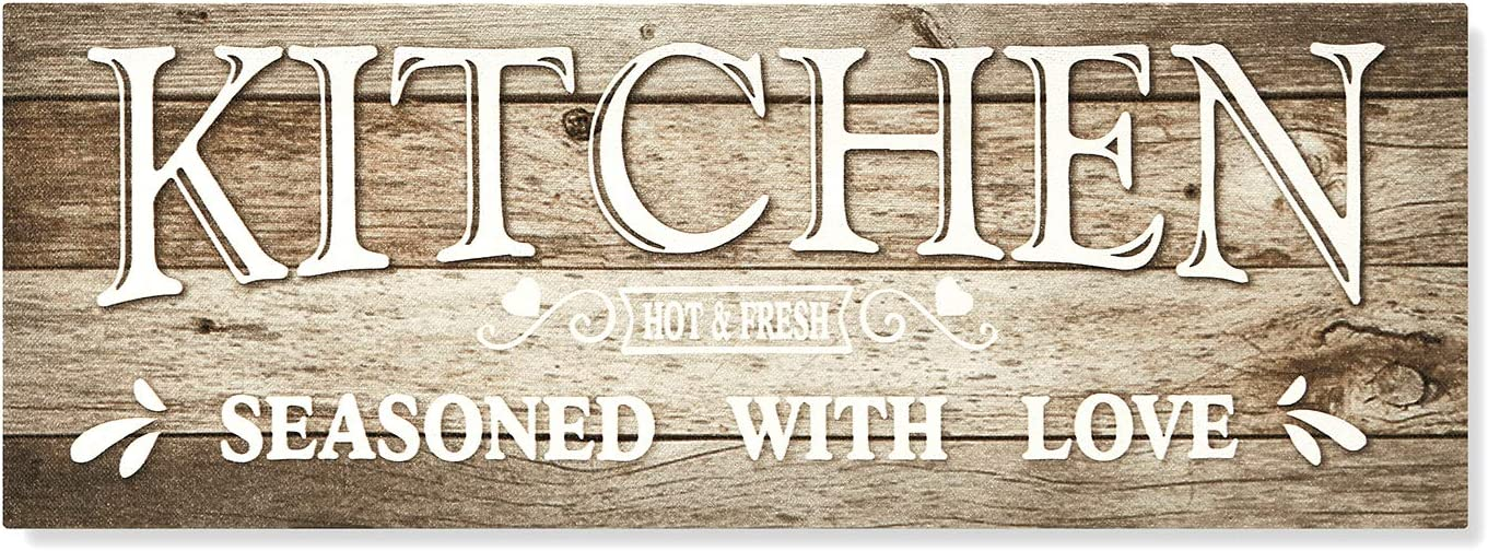 HERZOME Kitchen Sign Wall Decor Canvas Wall Art Rustic Signs for Kitchen Framed | Kitchen is Seasoned with Love Room Wall Decor