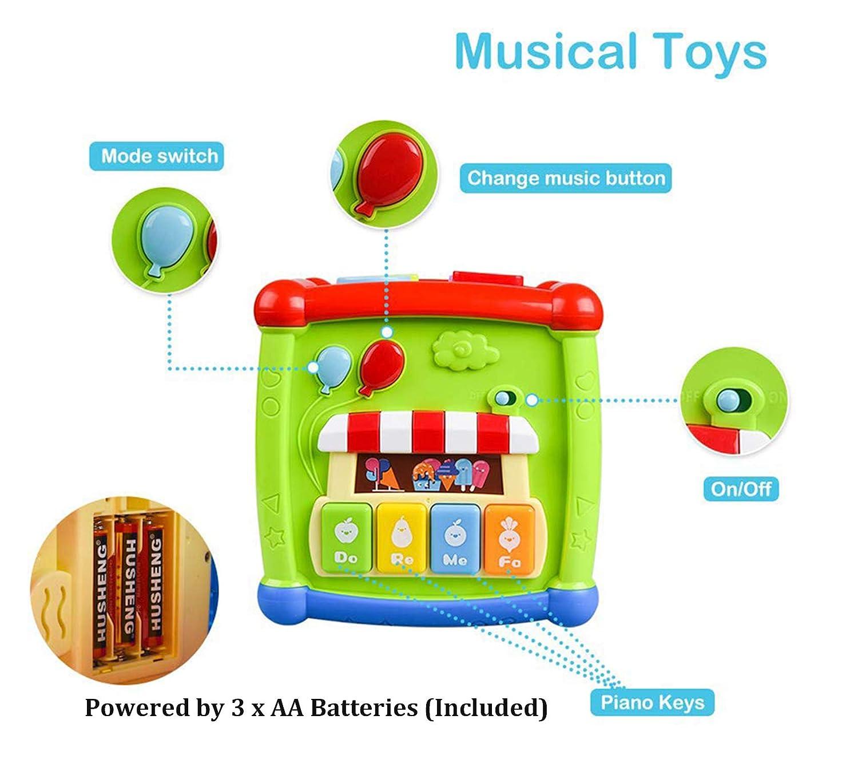 AiTuiTui Música Cubo de Actividades, 6 en 1 Incluye Caja de música Bloques Reloj Habilidades Motoras Juguetes educativos con luz de Sonido de 1 Años ...
