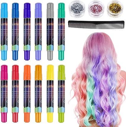 Lictin Tiza para el cabello Tintes capilares con tiza Para niños y niñas Pluma de tinte temporal para el cabello de destello metálico No tóxico ...