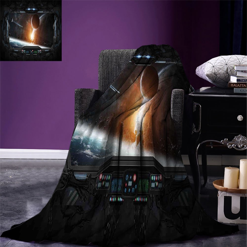 smallbeefly Outer Space Digital Printing Blanket Scenery of Planets from the Window of a Shuttle Bodies Astronaut Space Station Summer Quilt Comforter Gray Orange