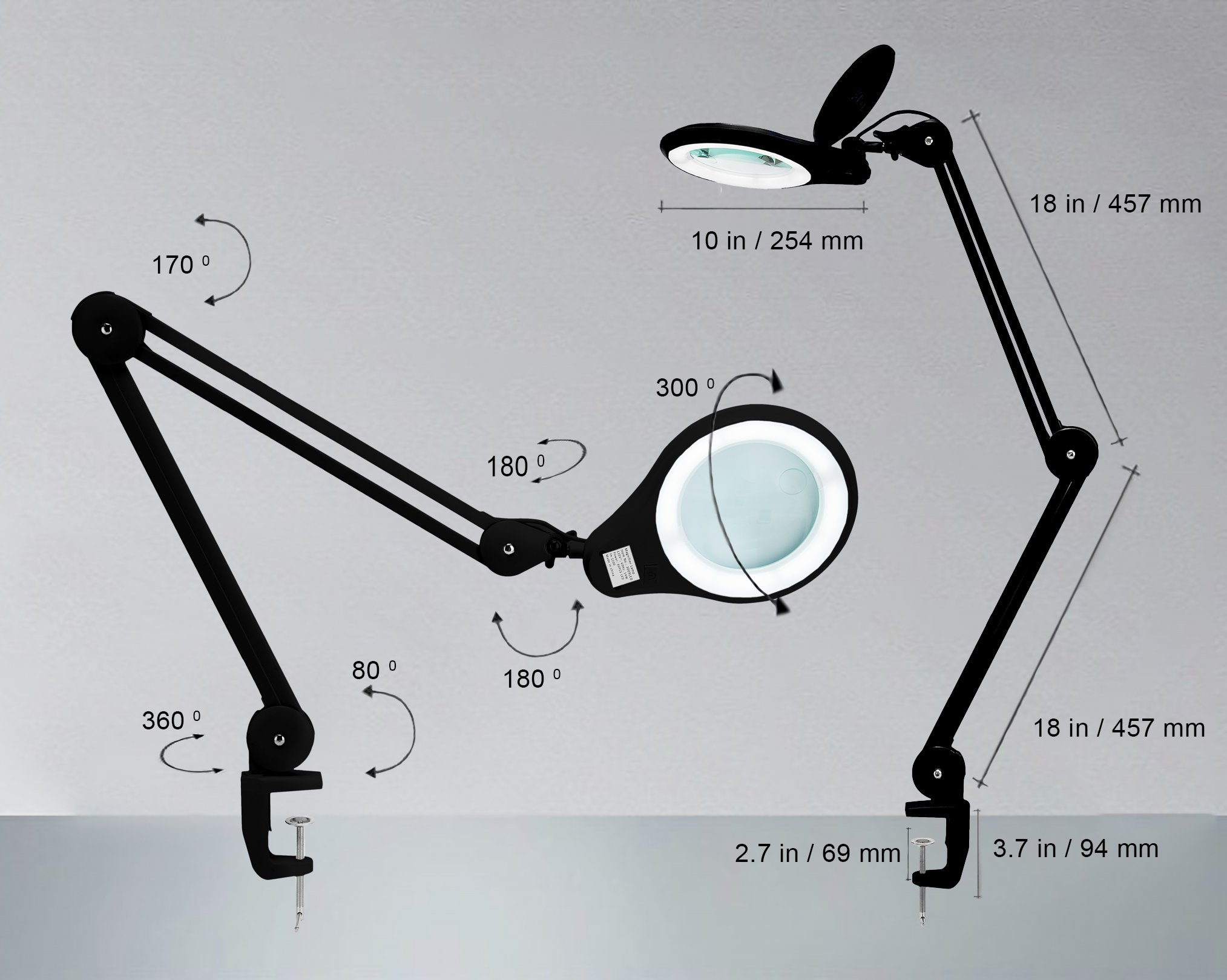 [New Model] Neatfi Bifocals 1,200 Lumens Super LED Magnifying Lamp with Clamp | 5 Diopter with 20 Diopter | Dimmable | 60PCS SMD LED | 5'' Diameter Lens | Adjustable Arm Utility Clamp (Black) by Neatfi (Image #6)