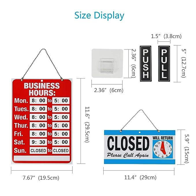 KATOOM horario Tienda Firmar horario semanal de señal de Hora de Cartel Abierto Cerrado de Closed y Open en Ventana Cristal o Puerta con Regalo de ...