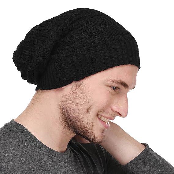 826fb812d04 Gajraj Black Knitted Slouchy Beanie for Men   Women (Black)  Amazon ...