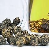 Jasmine Dragon Pearls Tea - Premium Flavor 100% Organic Green Tea Jasmine Pearls Loose Leaf Tea Hand Rolled - 4 ounces/ 113 grams