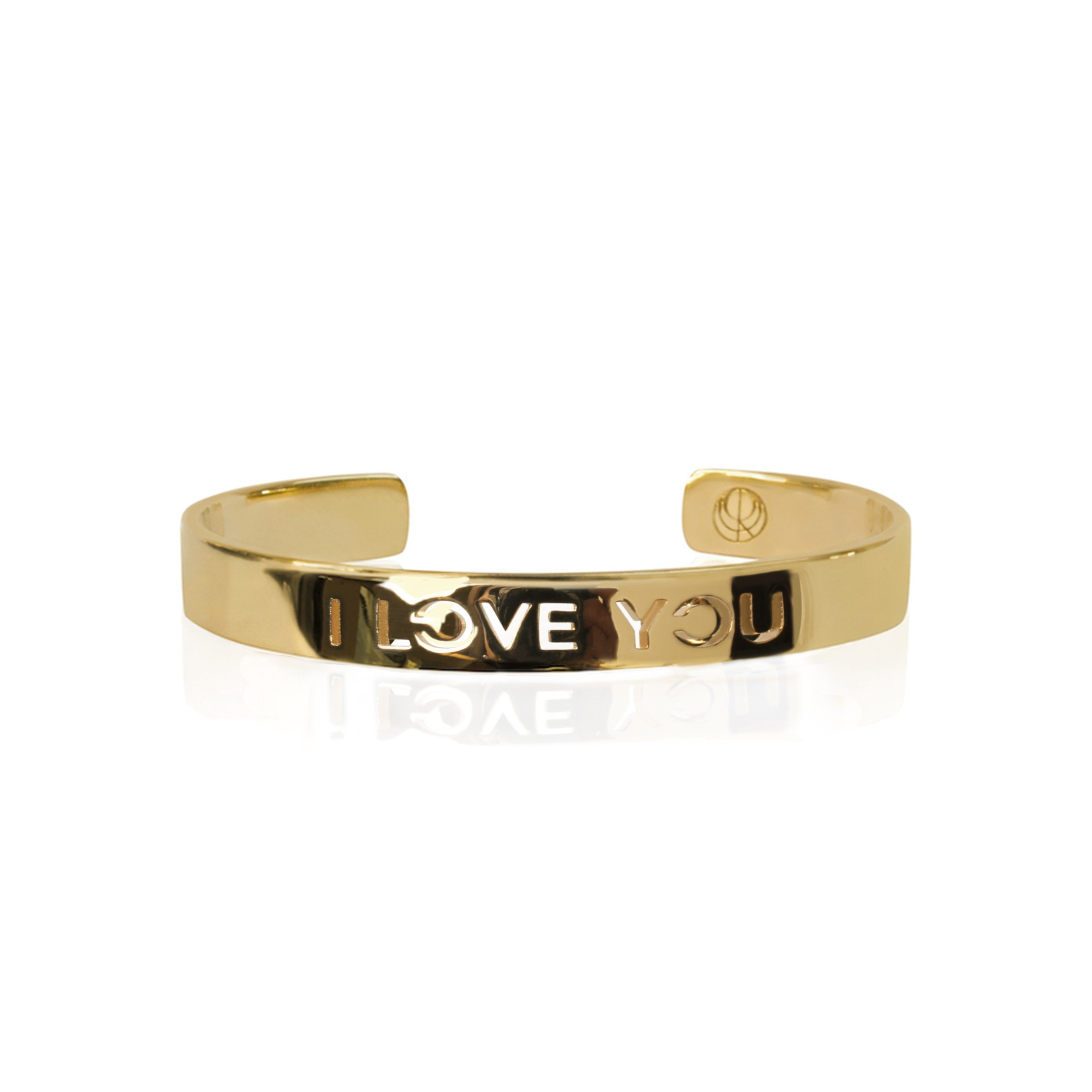 I LOVE YOU Bangle 24K Gold Plated Stainless Steel Bracelet Travel Jewelry