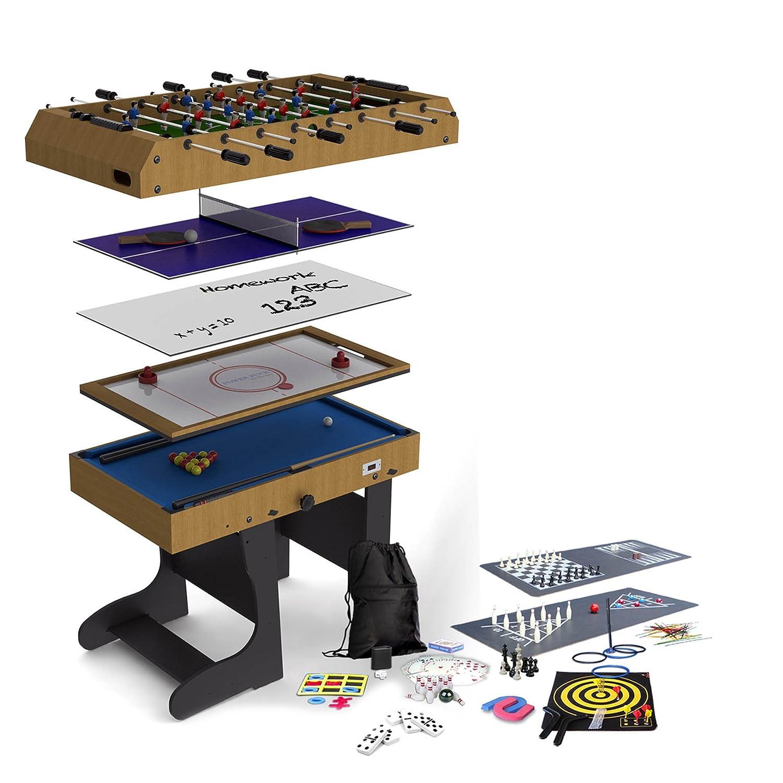 Riley 4 in 1-Spieltisch Airhockey Billard (Tischtennis, Kicker, Shuffleboard, Bowling, Backgammon, Schach, Dame)
