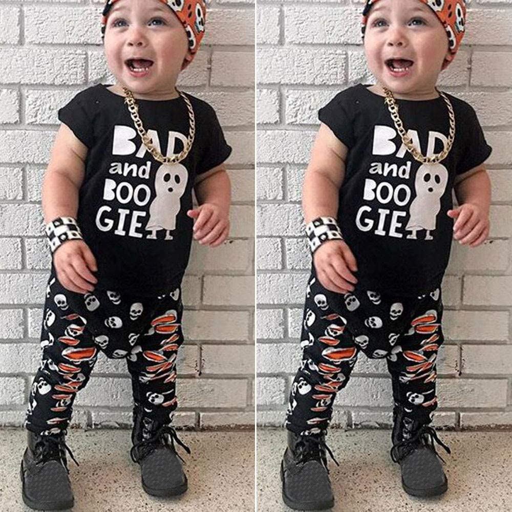 Halloween Boys Outfits,Fineser 2Pcs Infant Baby Boy Short Sleeves Cartoon Ghost Letter Print Tops T-Shirt+Pants Sets Outfit