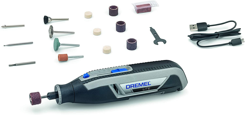 Dremel Lite 7760 - Multiherramienta Inalámbrica, Batería de Litio 3.6 V, Kit con 15 Accesorios, Cargador USB, Velocidad 8000-25000 RPM para Tallar, Grabar, Amolar, Limpiar, Pulir, Afilar y Lijar