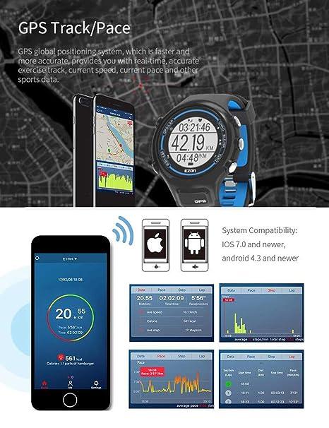EZON T907 Relojes Deportivos Digitales de los Hombres GPS Que Funciona el Reloj Elegante con el Monitor óptico basado Pulso de la frecuencia cardíaca, ...
