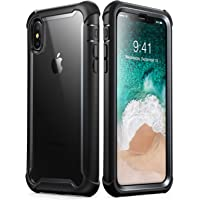Phone Xs Case Full-Body Rugged Clear Bumper Case w/ Built-in Screen Protector (Black)