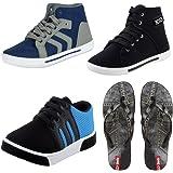 Earton Men Combo Pack of 4 Casual Shoes & Flip-Flops