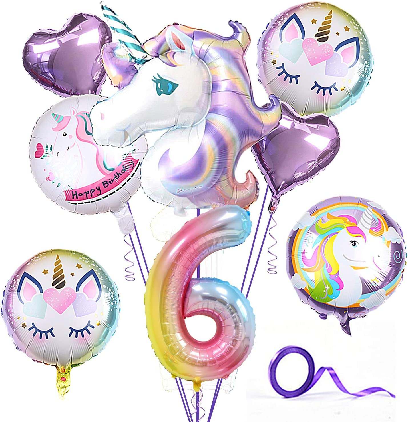 Unicorn Party Birthday Supplies for Girl,Pack of 9 Unicorn Theme Purple Balloon for Party,6-9th Birthday Party Decorations,Home Office Decor,Gift for Baby (6 Years)