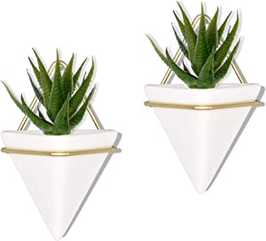 PUDDING CABIN 2 Set Gold Small Wall Planter Wall Decor Geometric Planter Hanging Plant Hanger Succulent Planter Wall Planter Indoor