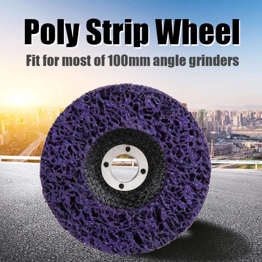 Plastic Concrete Aluminum Stone Wood Poly Strip Wheel Disc,Paint Rust Removal Tool,5Pcs 100mm,for Grinding And Polishing The Surface Of Steel Fiber Products Etc Copper
