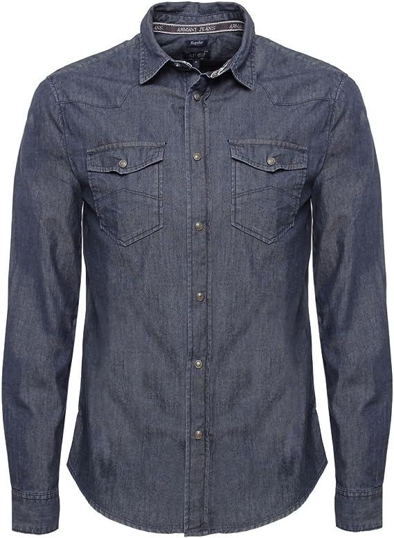 Armani Jeans Camisa de mezclilla Denim: Amazon.es: Ropa