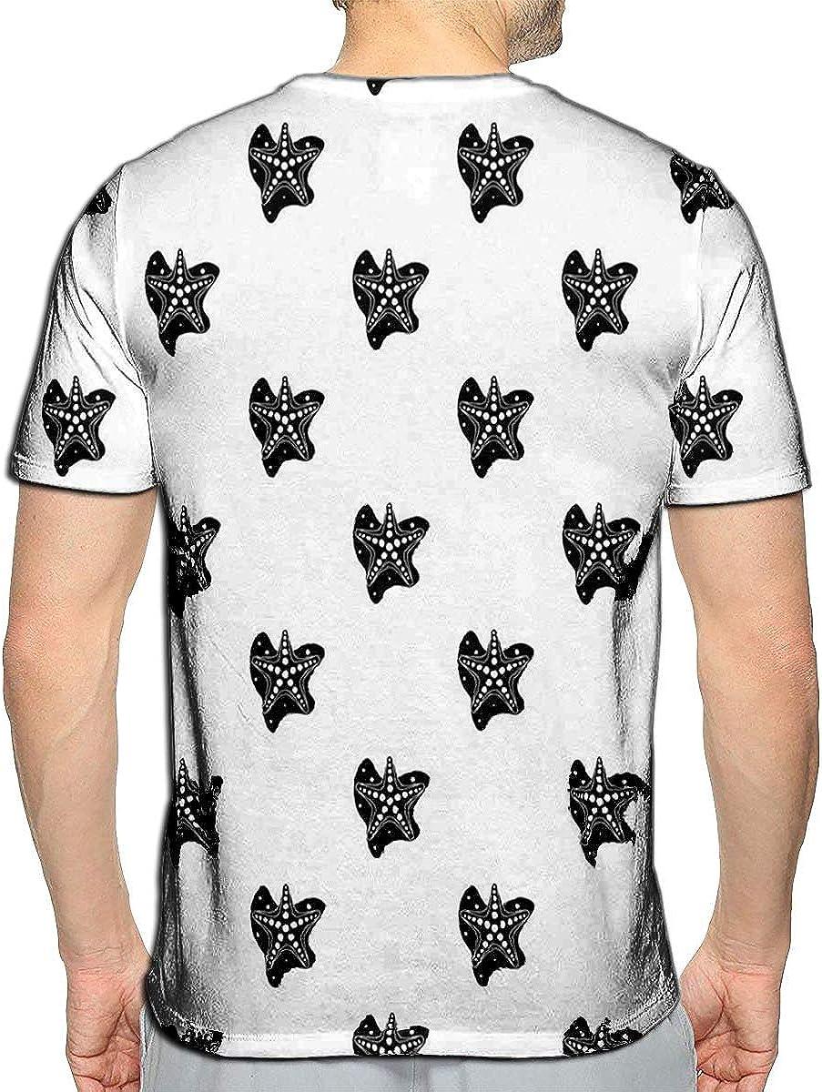 3D Printed T-Shirts Sea Stars in Black Short Sleeve Tops Tees