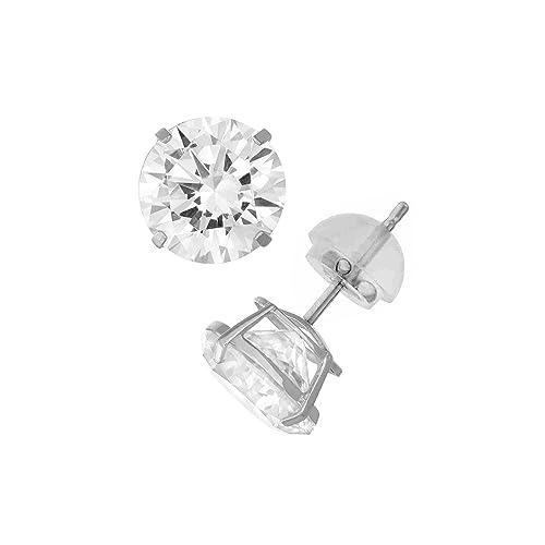 1e62583f6 Amazon.com: 14K White Gold Round Swarovski CZ Stud Earring Comfort Fit 3mm:  Jewelry