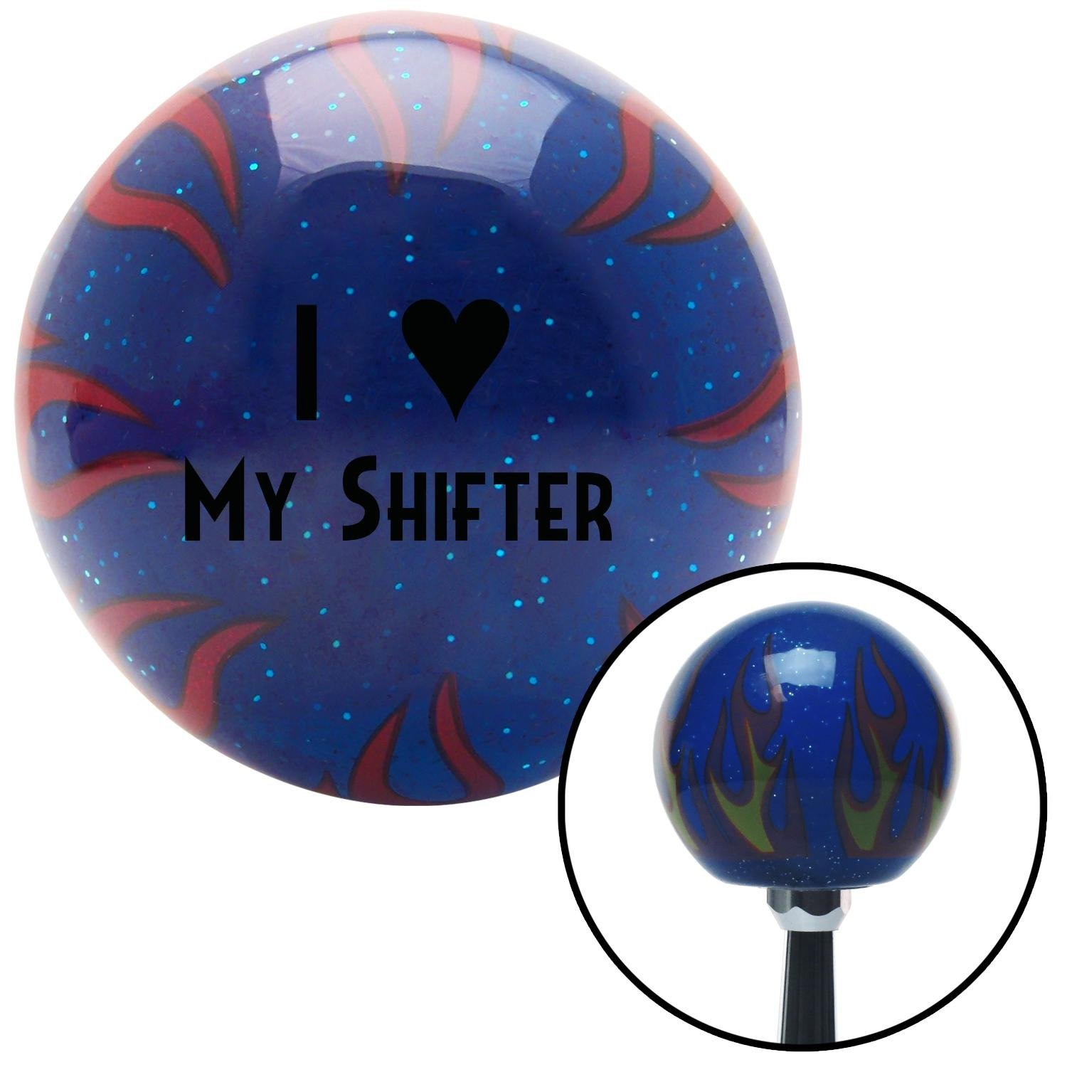 American Shifter 245699 Blue Flame Metal Flake Shift Knob with M16 x 1.5 Insert Black I 3 My Shifter