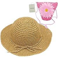 YOPINDO Sombrero de Paja niños niñas Sombrero Monedero