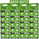 #8: JOOBEF 40 Pack Watch Alkaline Battery Button Cell LR1130 AG10 Pack of 40 Batteries