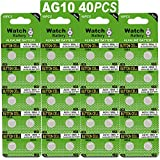 40 Pack Watch Alkaline Battery Button Cell LR1130 AG10 Pack of 40 Batteries