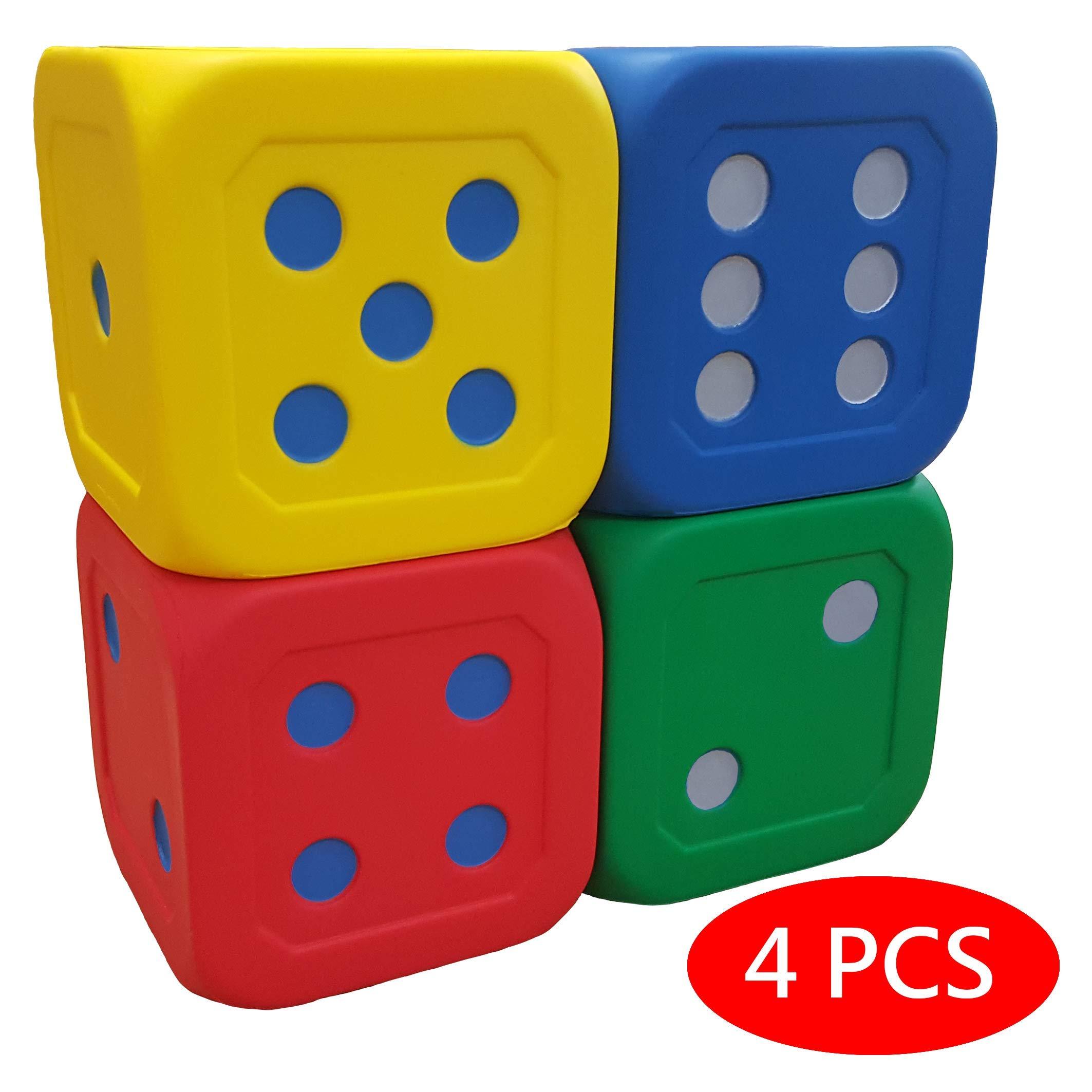 Macro Giant 6 Inch Soft Foam Jumbo Big Playing Dice, Set of 4, Red + Blue + Yellow + Green, Math Teaching, Teaching Aids, Board Games, Kid Toy