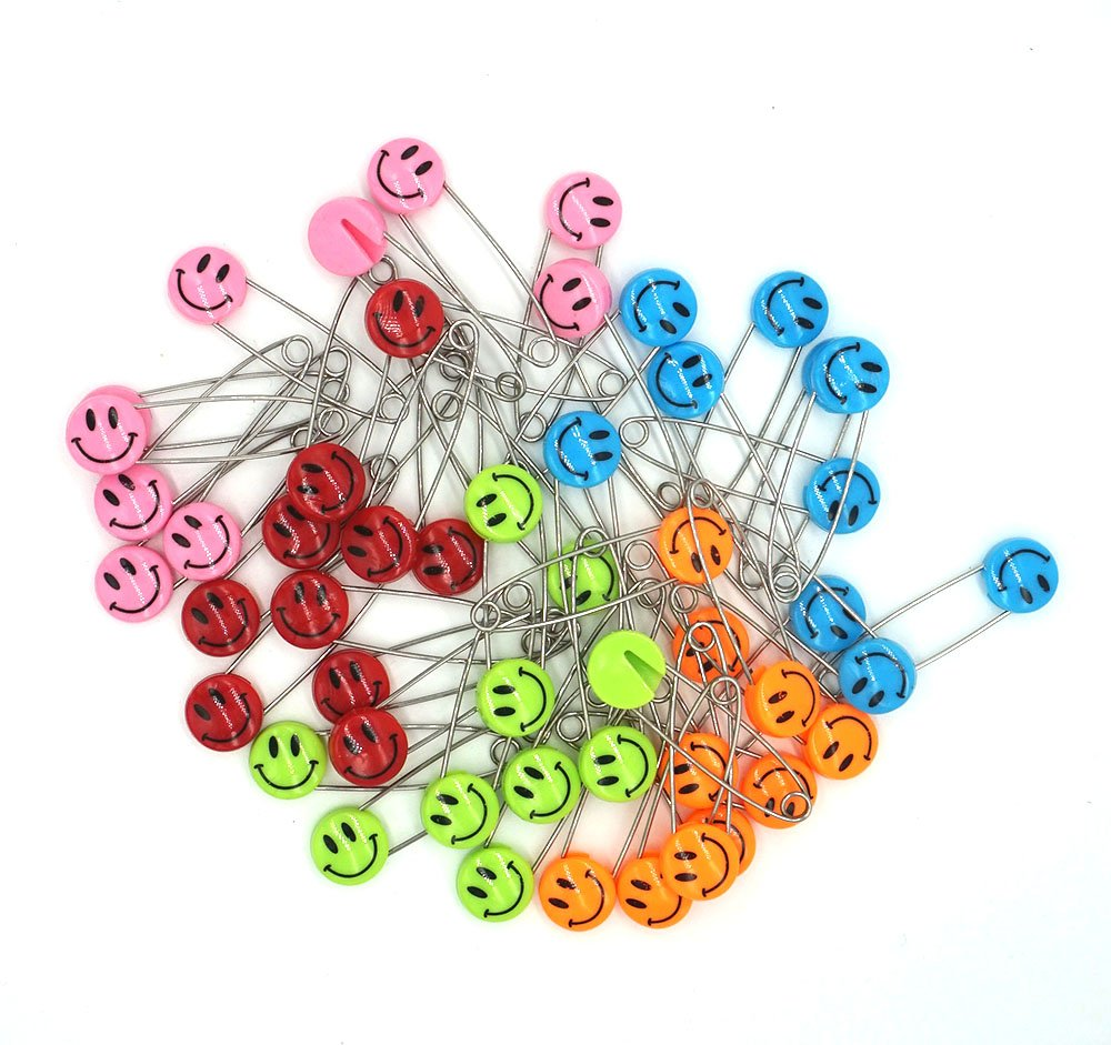 2.1 inch Cute Smile Face Colorful 50 PCS GTONEE Safety Pins Locking Baby Cloth Diaper Nappy Pins Stainless Steel Size L