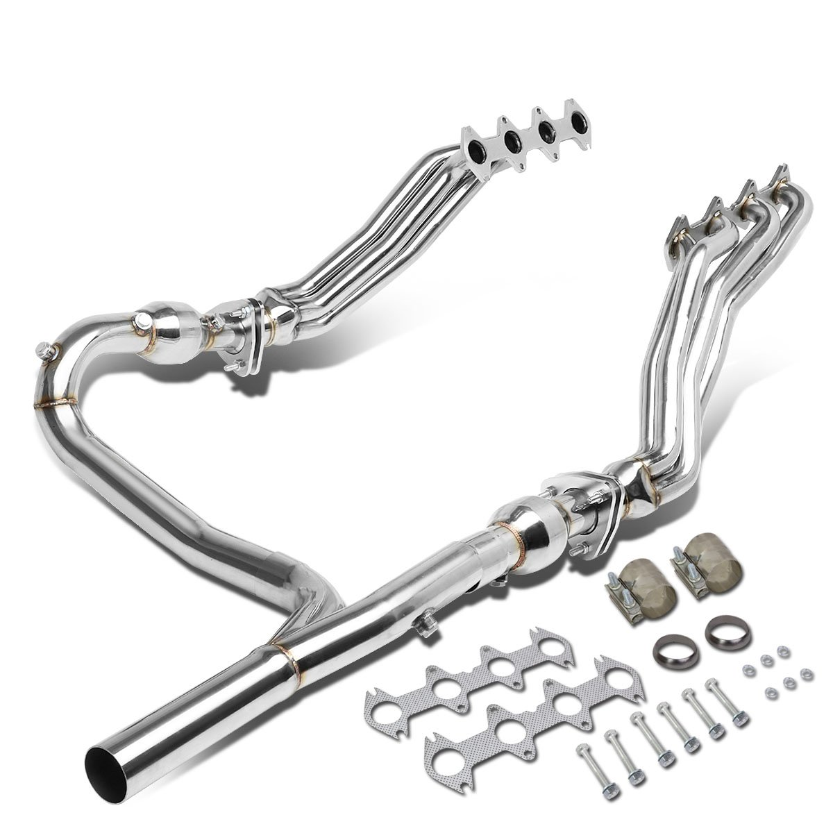 For Ford F-150 5.4L V8 4WD Long Tube 4-2-1 Exhaust Header Manifolds Gaskets Y-Pipe