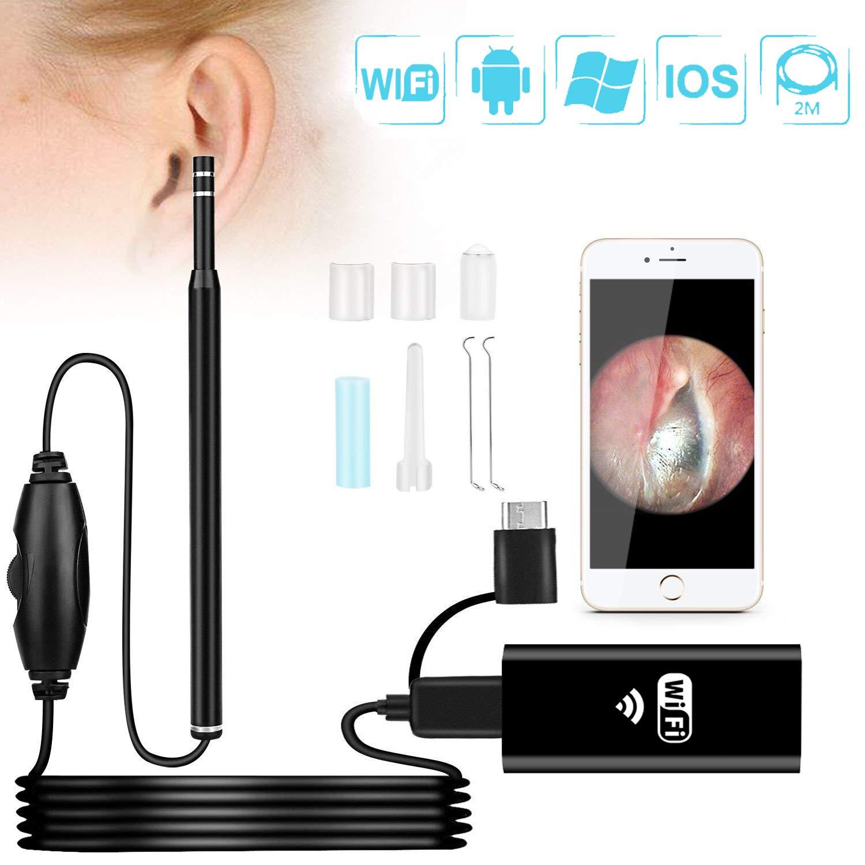 Wireless Otoscope,NOIHK Ear Camera Scope 1.3MP HD Digital WiFi Ear Otoscope Borescope Inspection Camera Ear Cleaning Endoscope with 6 Adjustable LED Light for iPhone Android, iPad Mac Computer PC