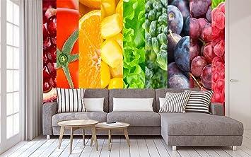 Papel Pintado Para Pared Arocoiris Fruta Fotomural Para Paredes