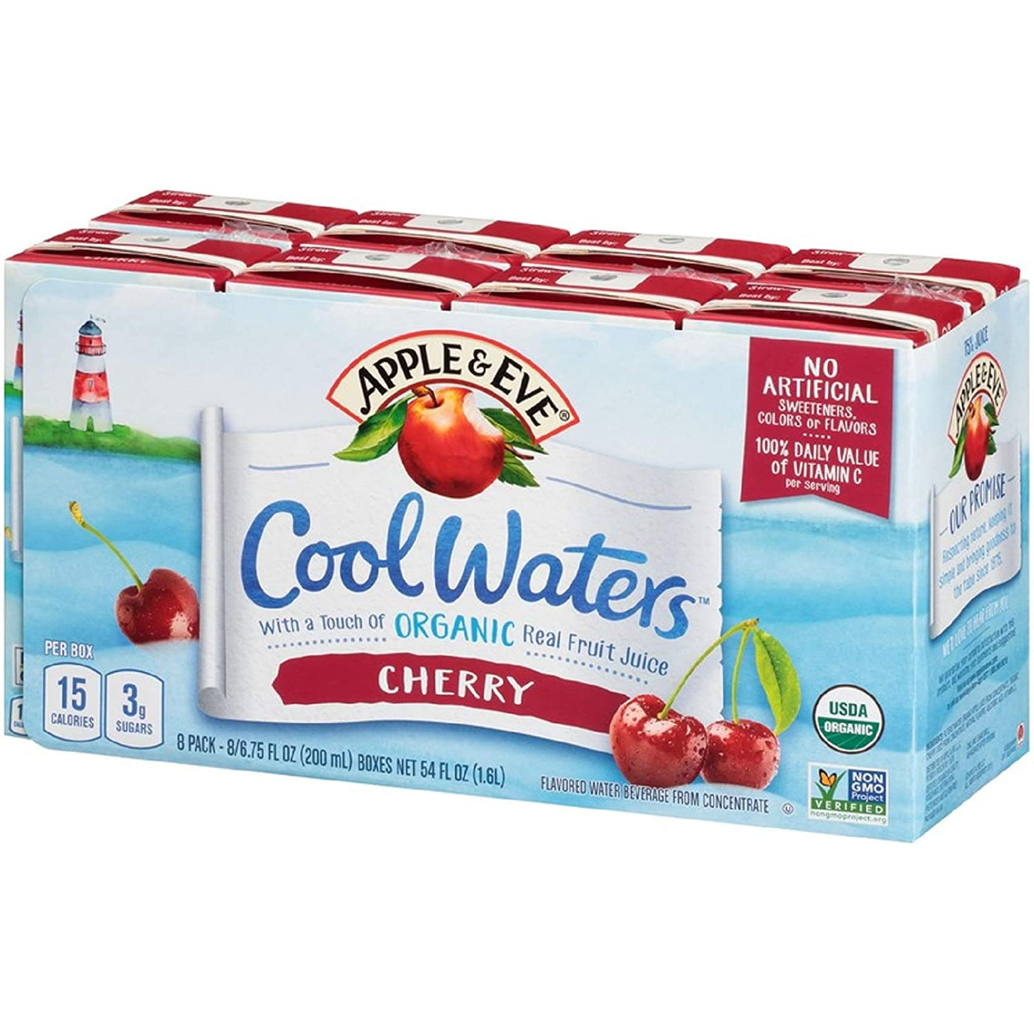 Apple & Eve Cool Waters Juice, Cherry, 6.75 Fluid Ounce, 8 Count