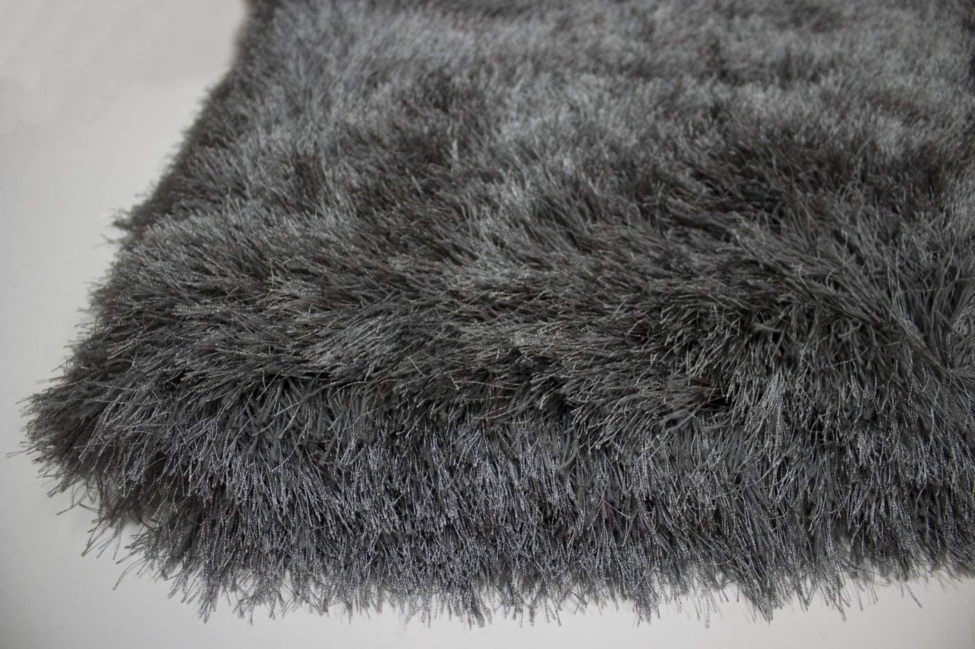 8×10 Feet Hand Woven Modern Contemporary Charcoal Dark Gray Dark Grey Color Solid Area Rug Carpet Rug Bedroom Living Room Indoor Shag Shaggy Canvas Backing Plush Pile Office Space Fluffy Fuzzy