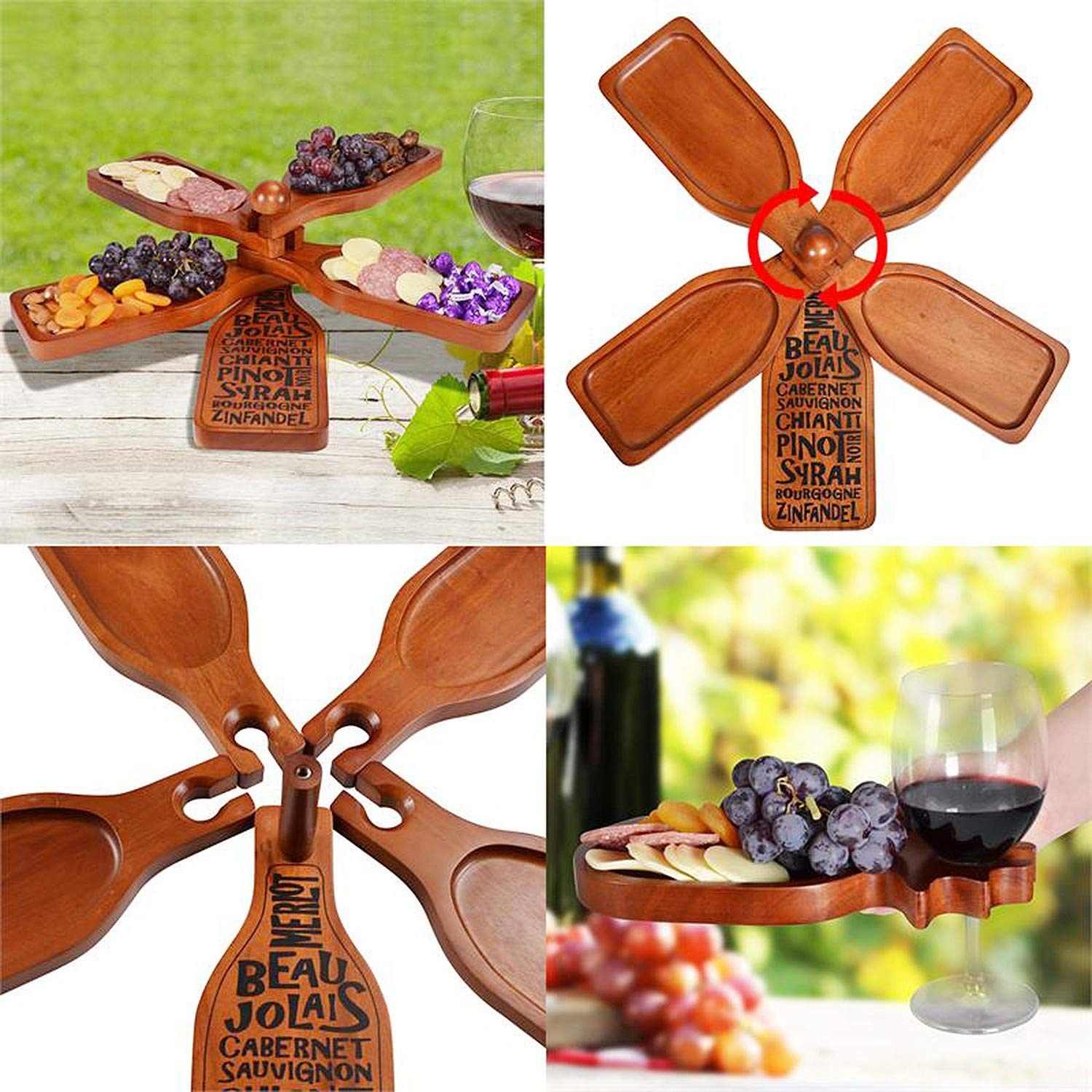 Mahogany Wood Wine Bottle Shaped Serving Platters With Display Stand Hold Meat Wine Glasses Fruit Primeware Wine Appetizer Plate Set Cheese