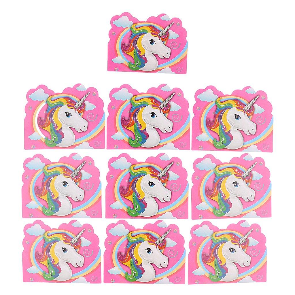 Dolity Set Di 10 Inviti Di Carta Biglietto D'auguri Motivo Unicorno Colore Rosa Per Ragazzi 4 x 11 cm