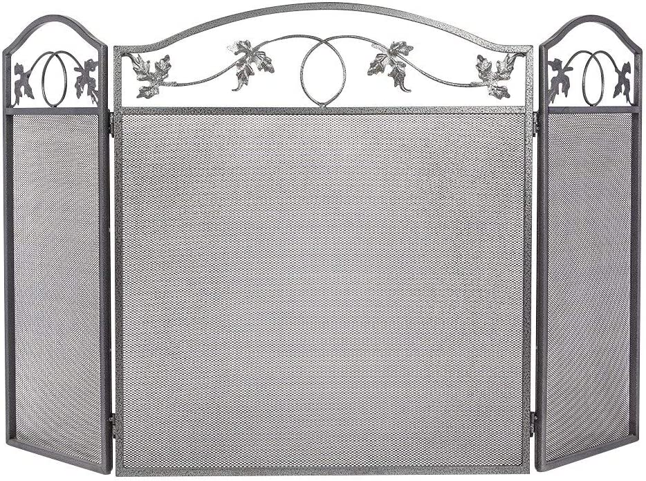 Amagabeli 3 Panel Pewter Wrought Iron Fireplace Screen Outdoor Metal Decorative Mesh Cover Solid Baby Safe Proof Fire Place Fence Leaf Design Steel Spark Guard for Fireplace Panels Renewed