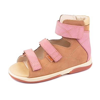 06c6a92dd Memo Helios 1JB Girl's High-Top Ankle Support Orthopedic Leather Sandal, 31  (13.5