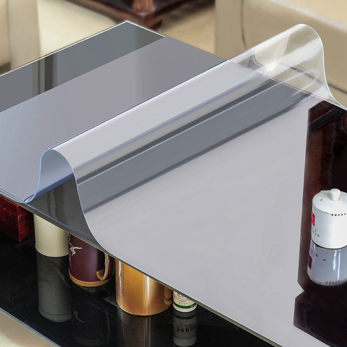 AiXiAng Custom 1.5mm Waterproof Clear PVC Table Cover Protector Rectangle 24 x 48 Inches Plastic Tablecloth for Dining Table, Desk,Lab Bench,Marble Top Table Pads Table Covers Coffe Table Protector