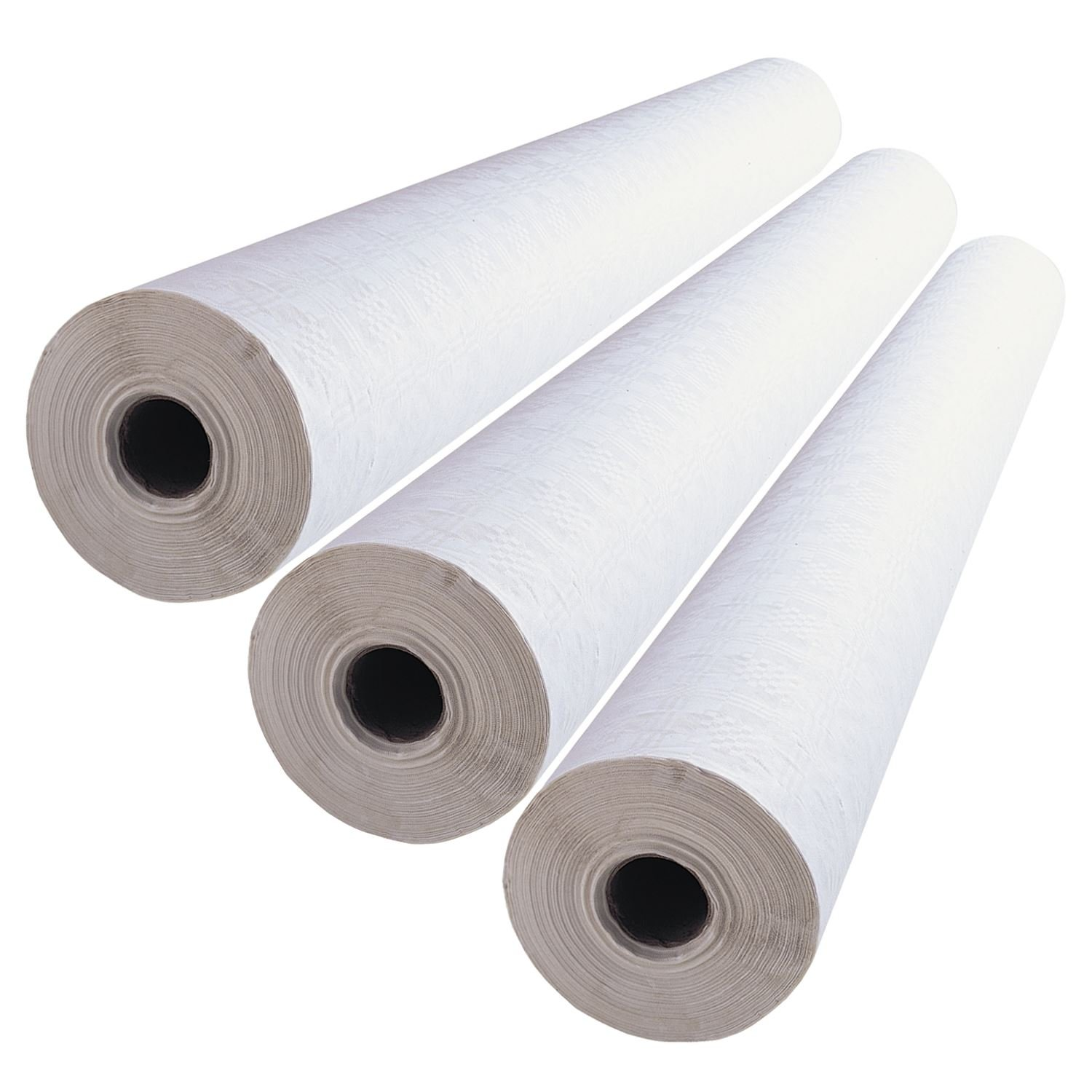 3 x Simpa® White Banqueting Roll 100M (L) x 1.16M (W) Domestic & Commercial Party Catering Event Supplies High Quality Disposable Paper Table Covering with embossed damask design.