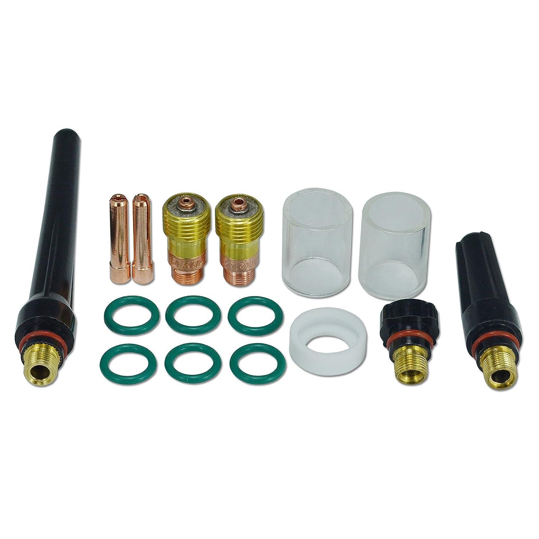 1,6 mm 2,4 mm WIG-Gaslinse 10# Pyrex-Becher Verbrauchsmaterialset fü r WP SR 17 18 & 26 WIG Schweiß brenner, 16St RIVERWELDstore
