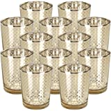 "Just Artifacts Glass Votive Candle Holder 2.75""H (12pcs, Lattice Gold) - Mercury Glass Votive Tealight Candle Holders for Weddings, Parties and Home Decor"