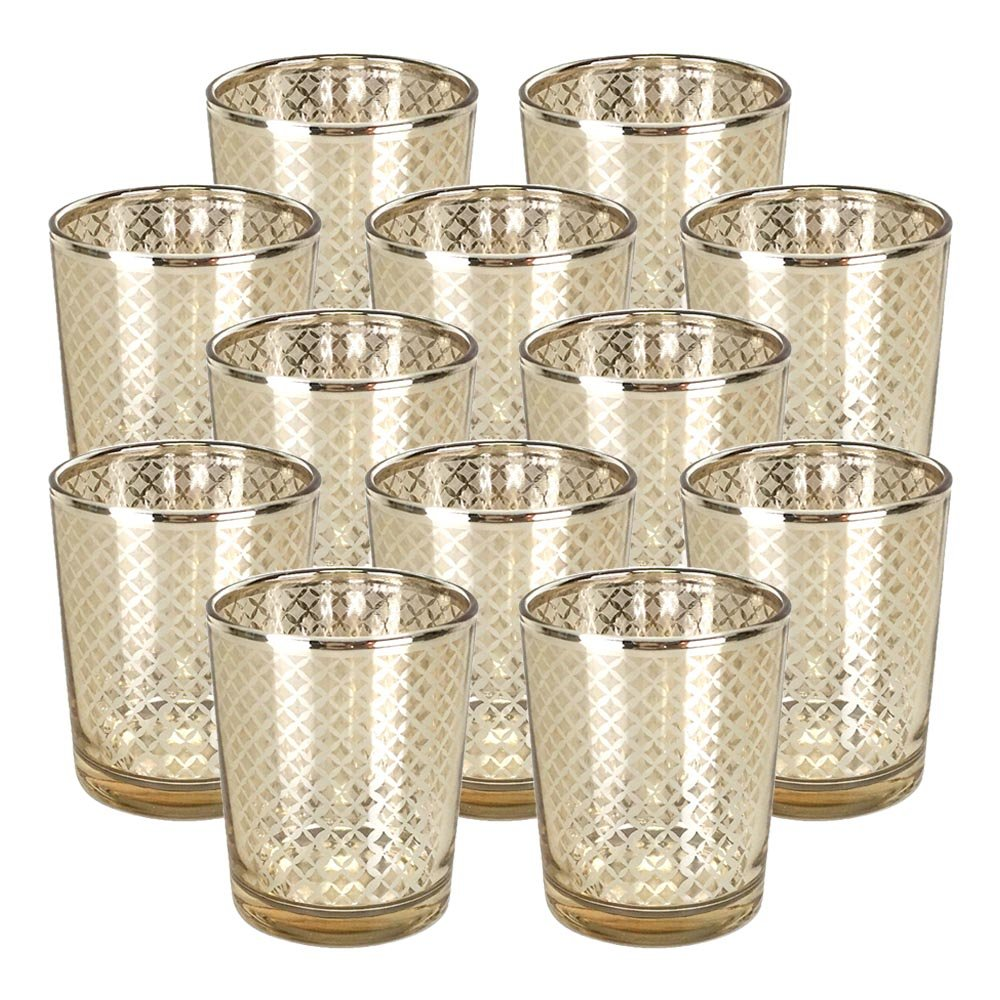 Just Artifacts GlassVotiveCandle Holder 2.75'' H(12pcs,Lattice Gold) - Mercury Glass Votive Tealight Candle Holders for Weddings, Parties and Home Decor